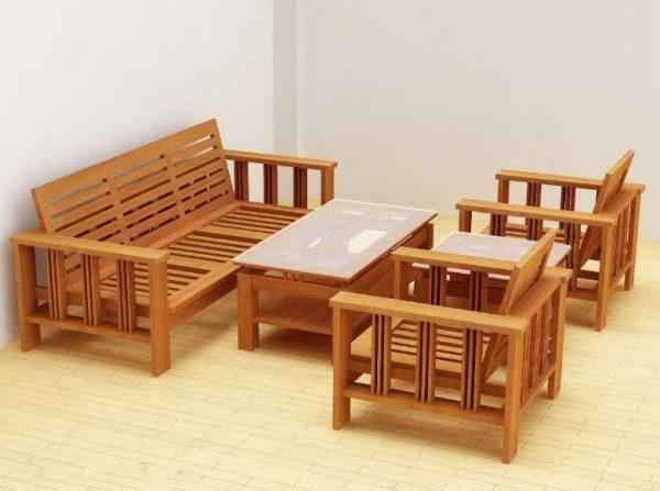 Bàn ghế gỗ phòng khách giá 5 triệu