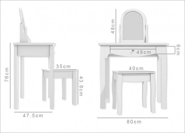 Kích thước bàn trang điểm mini chất chuẩn cho phòng ngủ nàng
