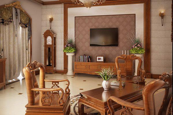 Mẫu bàn ghế gỗ phòng khách đơn giản