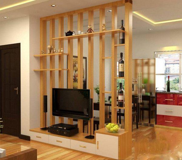 Vách ngăn phòng khách bằng gỗ