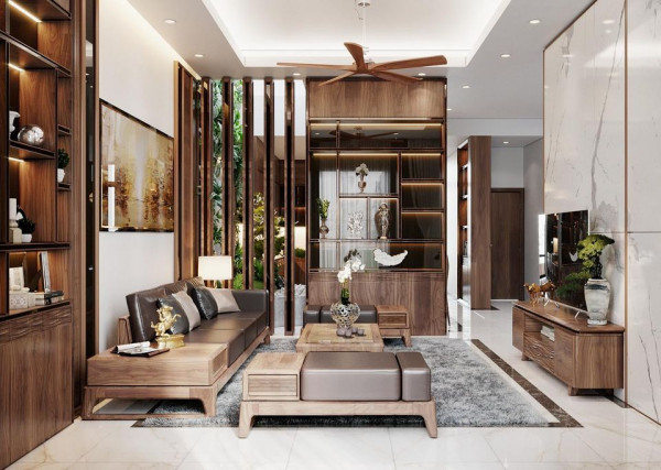 Vách ngăn phòng khách bằng gỗ công nghiệp - Nội Thất Nhà Lee