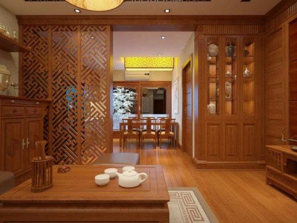 Vách ngăn phòng khách bằng gỗ tự nhiên - Nội Thất Nhà Lee