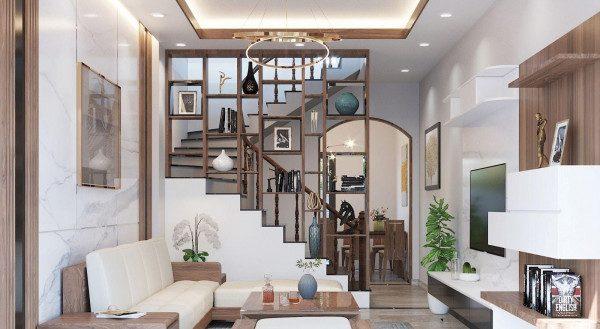 Vách ngăn phòng khách và cầu thang - Nội Thất Nhà Lee