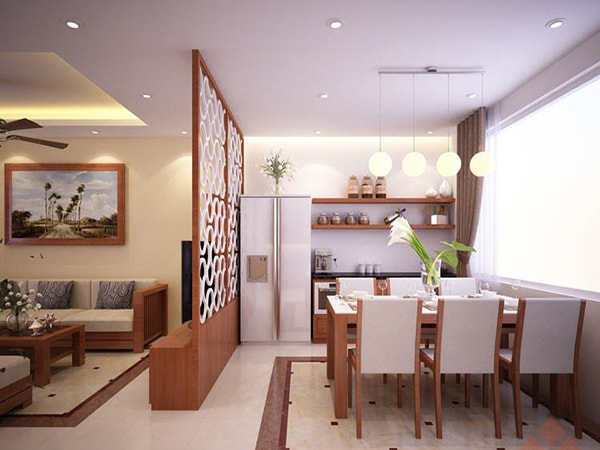 Vách ngăn phòng khách và bếp - Nội Thất Nhà Lee