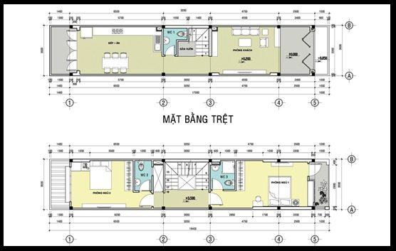 Mẫu bản vẽ nhà 2 tầng, 2 phòng ngủ - Nội Thất Nhà Lee