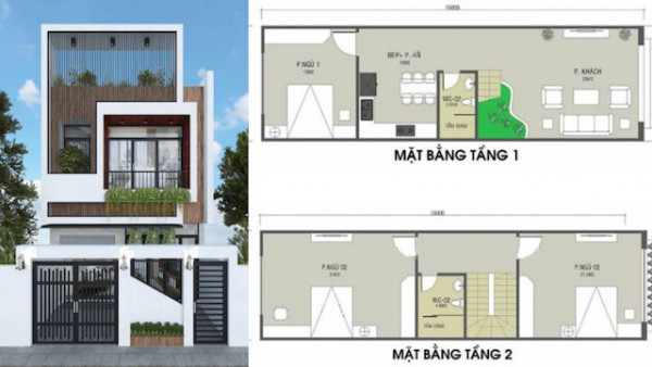 Mẫu bản vẽ nhà 2 tầng, 3 phòng ngủ - Nội Thất Nhà Lee