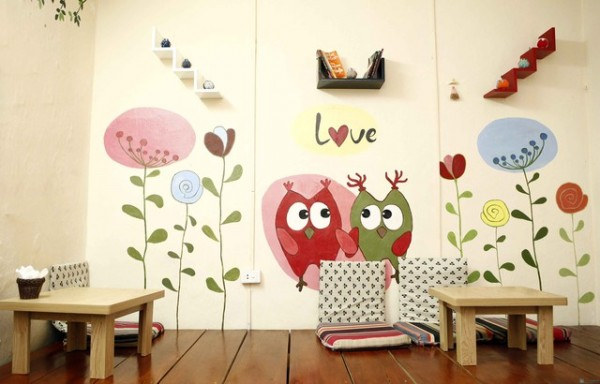 Vẽ tranh tường quán cafe
