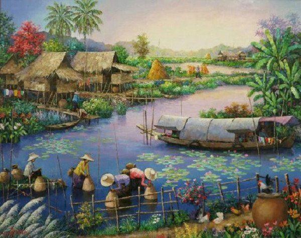 Nơm cá trên sông