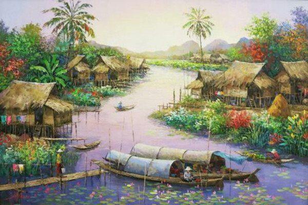 Phong cảnh làng quê trên sông