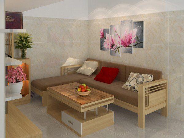 Sofa gỗ chữ l cho căn phòng chung cư nhà bạn thêm tiện nghi