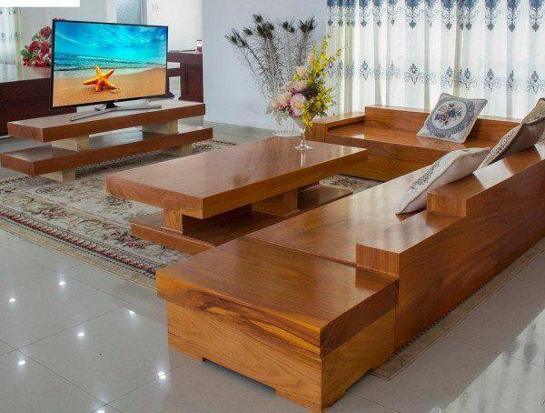 Sofa gỗ nguyên khối – Điểm 10 cho phòng khách đẹp và sang