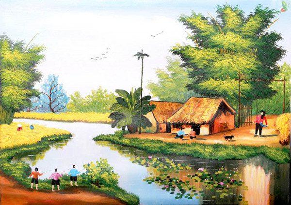 Tranh vẽ phong cảnh làng quê thanh bình