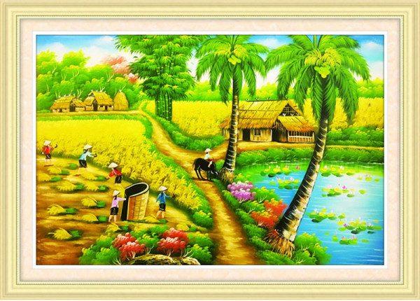 Tranh thêu chữ thập phong cảnh đồng quê