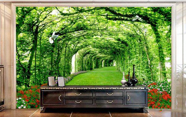 Tranh dán tường phong cảnh trong phòng khách
