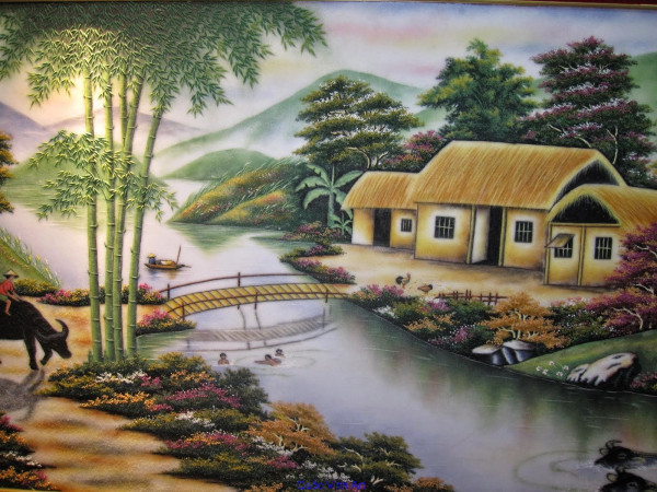 Vẽ tranh phong cảnh quê hương đơn giản mà đẹp