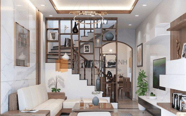 Cầu thang có vách ngăn đẹp - Nội Thất Nhà Lee