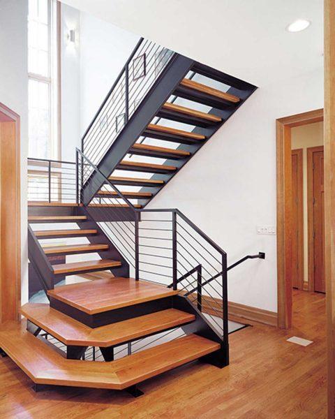 Cầu thang gấp khúc đẹp - Nội Thất Nhà Lee