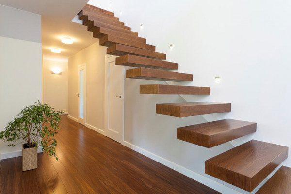 Cầu thang gỗ không trụ - Nội Thất Nhà Lee