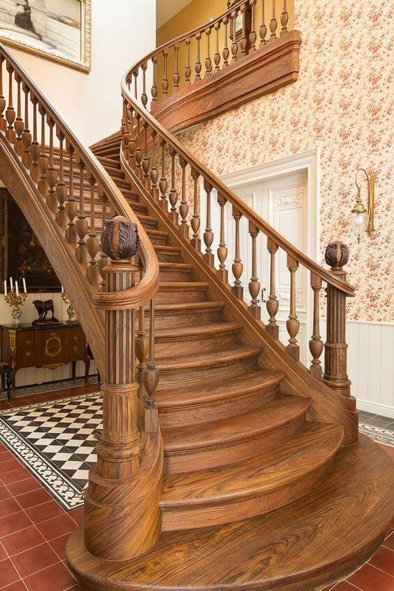 Mẫu cầu thang gỗ tròn - Nội Thất Nhà Lee