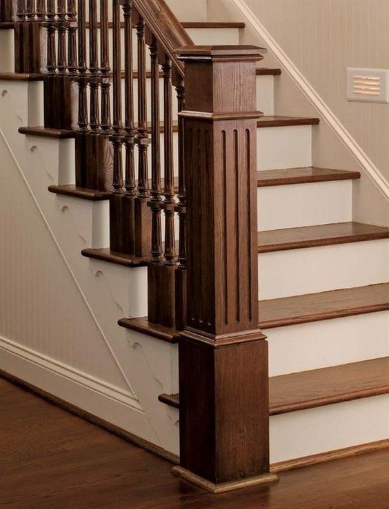 Mẫu cầu thang gỗ vuông - Nội Thất Nhà Lee